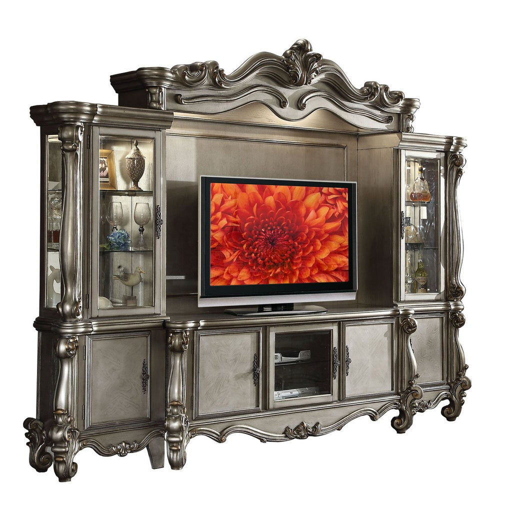 Wood And Glass Entertainment Center With Scrollwork Details, Silver