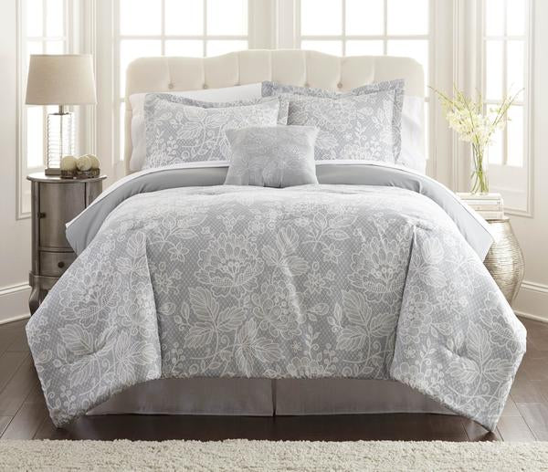 8 Piece Full Size Printed Reversible Comforter Set ,Gray And White