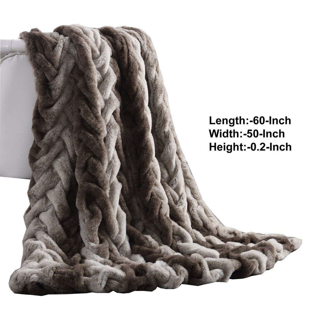 Fur Braided Reverse Flannel Throw