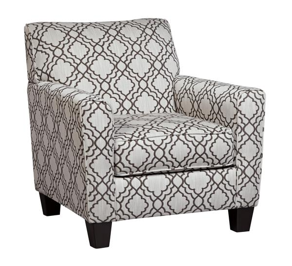 Fabric Upholstered Accent Chair With Quatrefoil Print, Gray And White