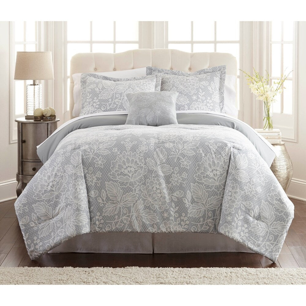 Lyon 8 Piece Full Size Printed Reversible Comforter Set ,Gray And White - BM202723