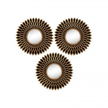 6 Piece Bronze Flower Mirror Set