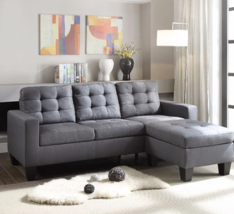 Refined Sectional Sofa, Gray Linen
