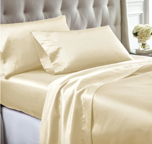 Nantes 4 Piece Wrinkle Resistant Queen Size Satin Sheet Set , Cream