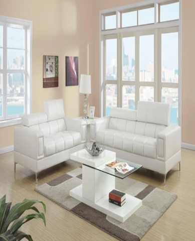 Leather 2 Piece Sofa Set With Foldable Headrests In White