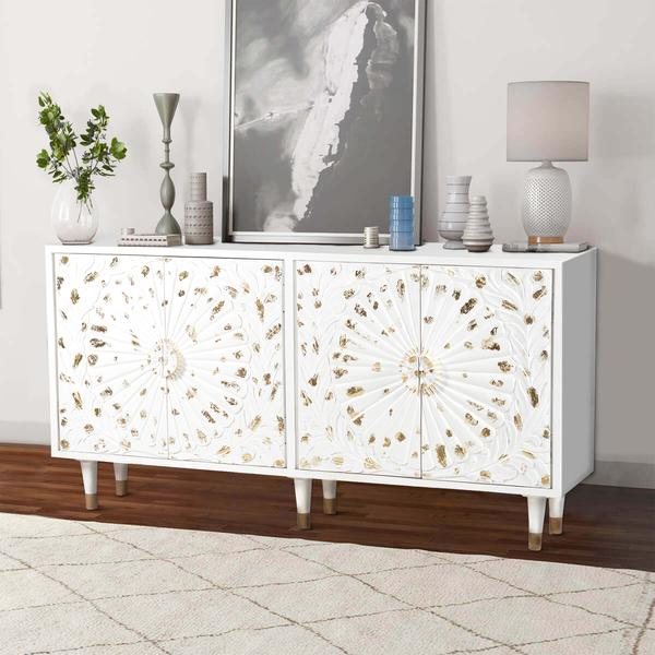 4 Door Wooden Sideboard with Engraved Sunburst Design Front, White and Gold