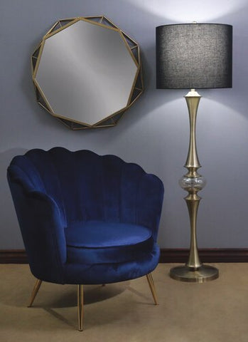 "1OCCASIONAL CHAIR 33"" SCALLOP BACK, BLUE"