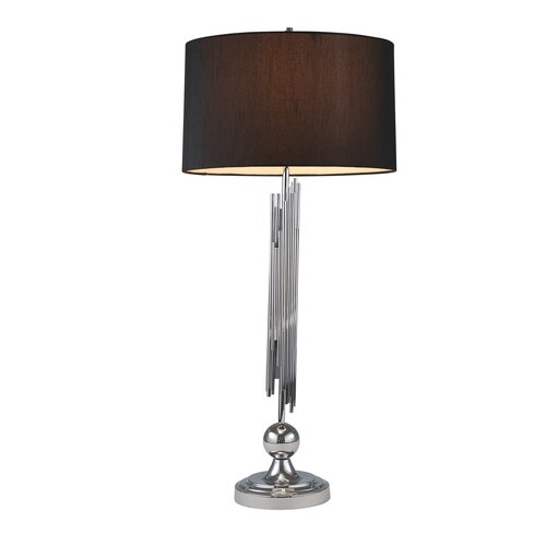 "METAL 35"" ABSTRACT BARS TABLE LAMP, SILVER"