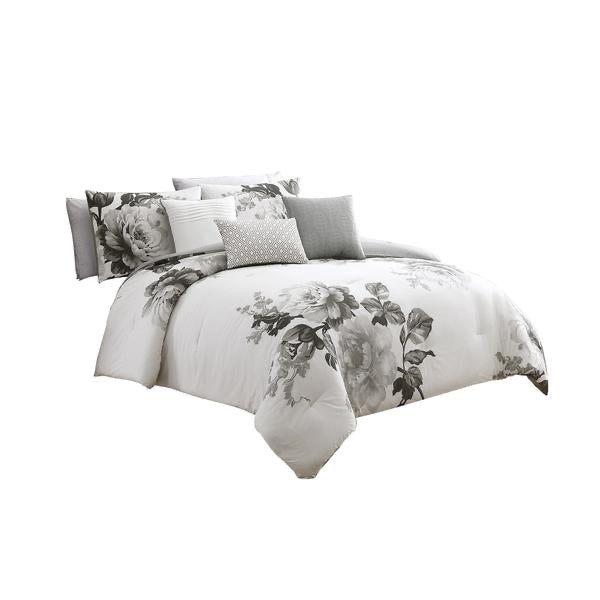 7 Piece Cotton Queen Comforter Set With Floral Print, Gray And White -