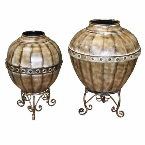 Mesmerizing 2 Piece Metal Planter, Brown