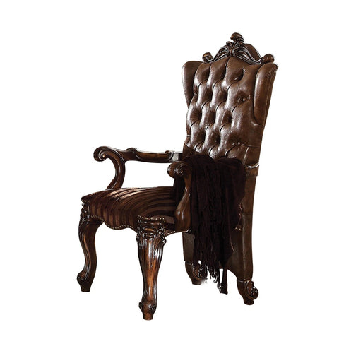 Wooden Arm Chair With Button Tufted Backrest And Carved Details, Set Of 2, Brown