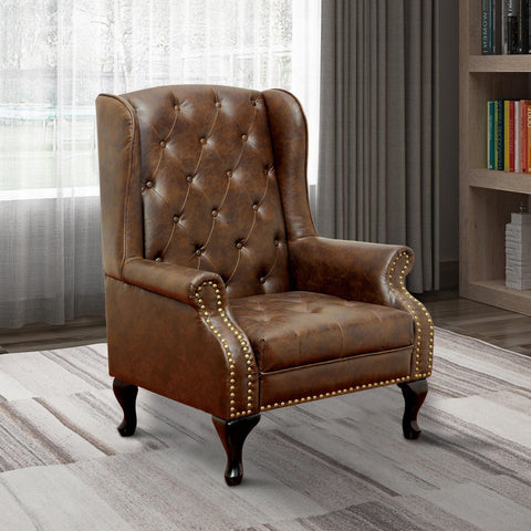 Vaugh Traditional Wing Accent Chair In Nail Head, Rustic Brown Finish
