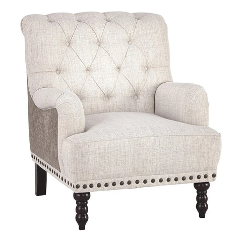 Wooden Accent Chair With Fabric And Faux Leather Upholstery,Gray And Cream