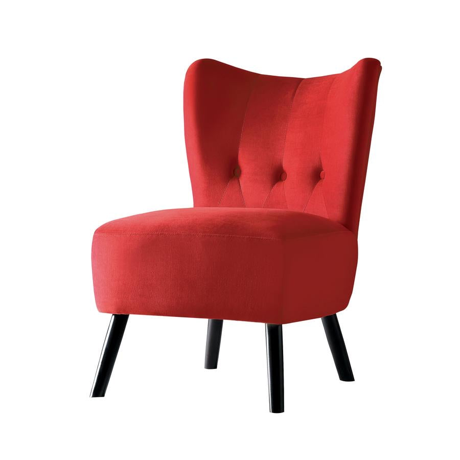 Upholstered Armless Accent Chair With Flared Back And Button Tufting, Red