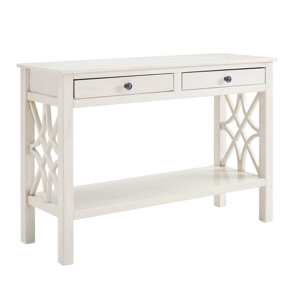 2 Drawer Wooden Console Table With Geometric Side Panels,Antique White