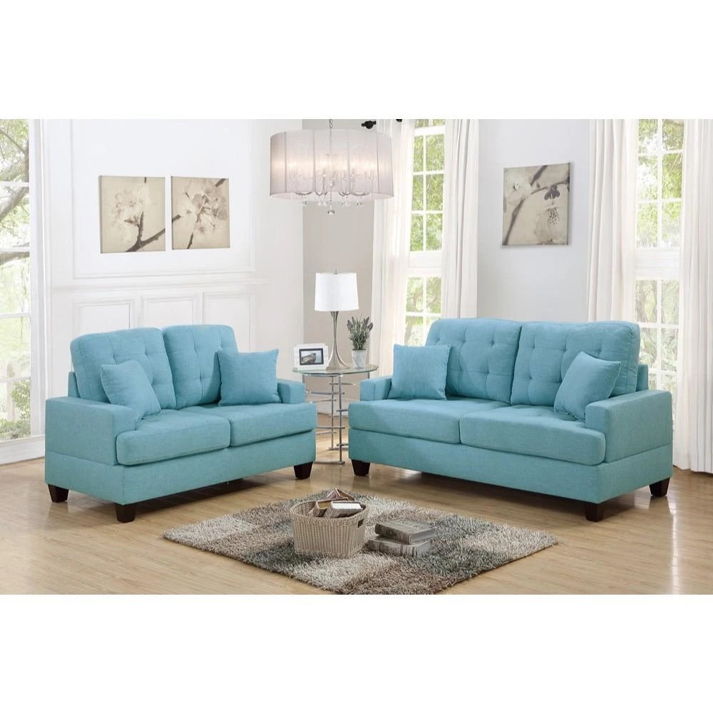 Polyfiber 2 Piece Sofa Set With Plush Cushion In Blue