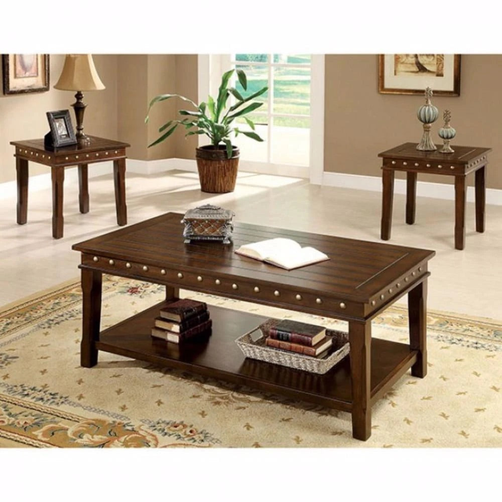 Solid Wood Coffee & End Tables Set, Dark Brown, Pack Of 3