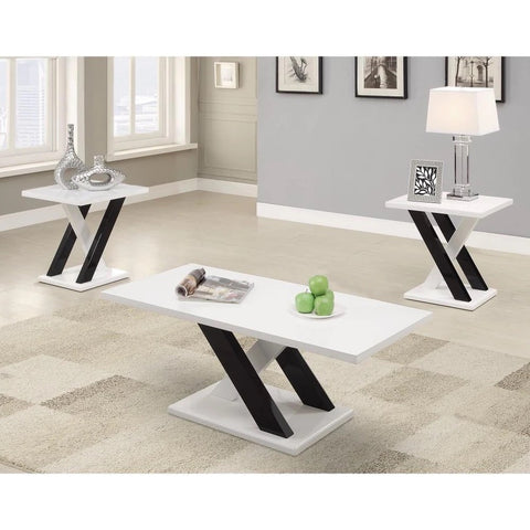 Fascinating Wooden 3 Piece Occasional Set, White And Black