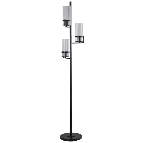 Satin Black | Transitional | Metal and Glass Shade Floor Lamp | 40W X 3 | On-Off Foot Switch