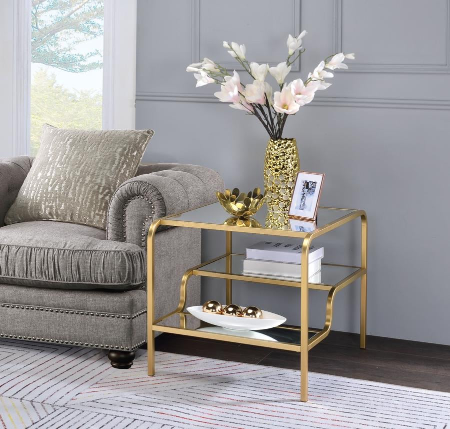 Metal Frame Mirrored End Table With Tiered Shelves, Gold And Silver