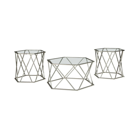 Set With Inserted Glass Top, Set Of Three, Silver And Clear