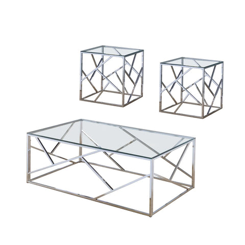 Industrial 3 Piece Table Set With Open Geometric Base In Clear And Silver