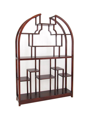 Arch Shape Display Unit With Asymmetric Shelves, Dark Brown