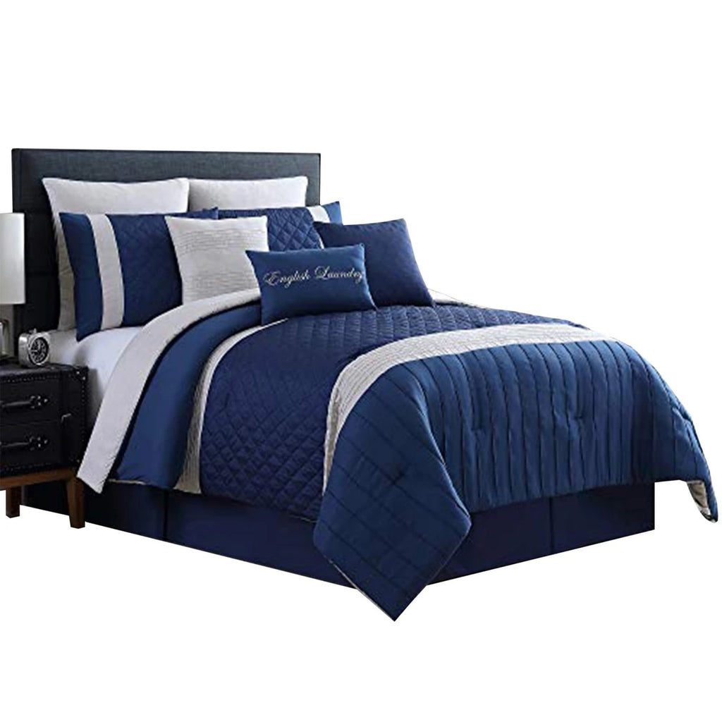 Basel Pleated Queen Comforter Set With Diamond Pattern The Urban Port, Blue And White