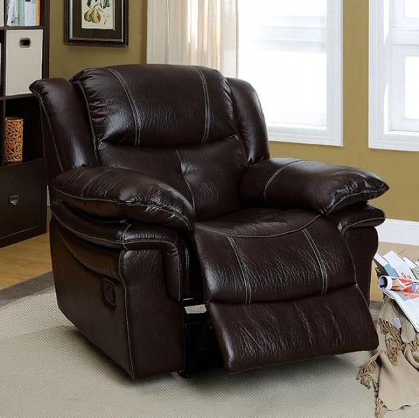 CORDOVA Transitional Recliner Chair, Dark Brown -