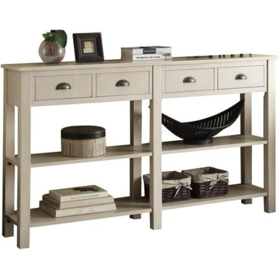 Wooden Console Table With Four Drawers And Two Shelves, Cream