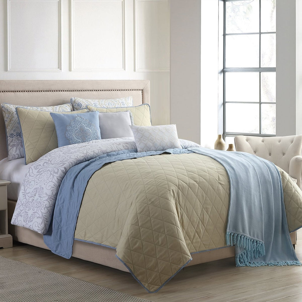 Piece Queen 10 Size Comforter And Coverlet Set , Multicolor