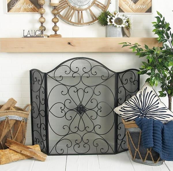 Scroll Patterned 3 Panel Metal Fireplace Screen With Double Bar, Black -