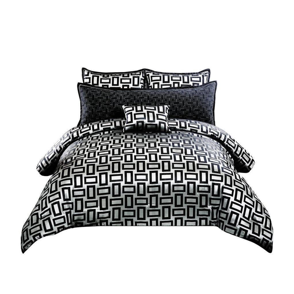 6 Piece Polyester Queen Comforter Set With Geometric Print, Gray And Black
