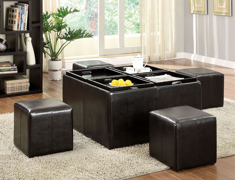 Contemporary Nested Ottoman With 4 Small Cubes & Trays