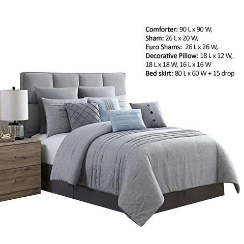 Queen Size Comforter Set With Pleats The Urban Port, Gray