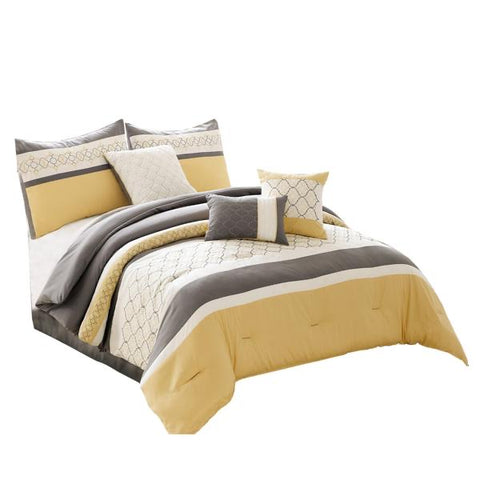 Quatrefoil Print Queen Size 7 Piece Fabric Comforter Set, Yellow And Gray l