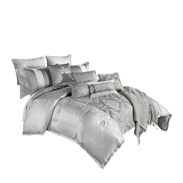 12 Piece King Polyester Comforter Set With Medallion Print, Platinum Gray