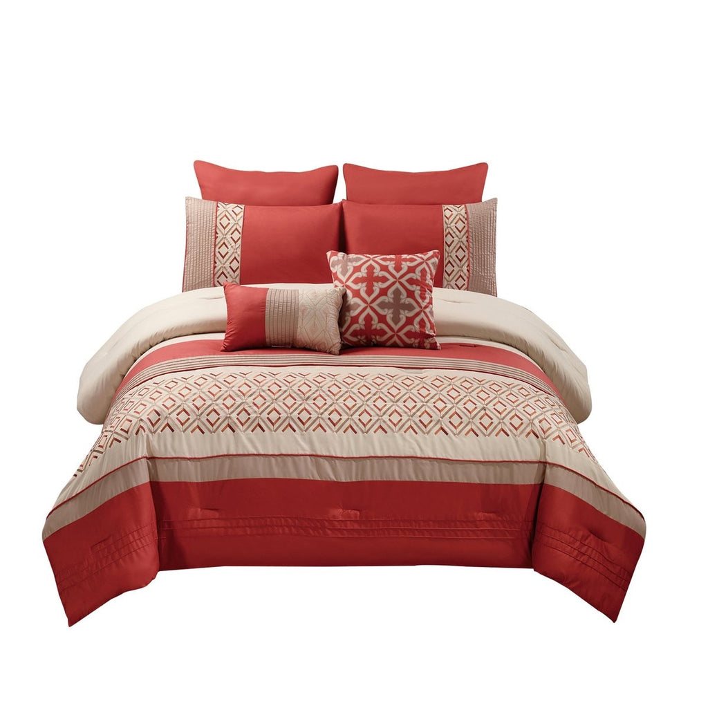 8 Piece Queen Polyester Comforter Set With Geometric Embroidery, Orange -