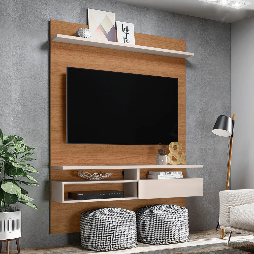 Wall Mounted Entertainment TV Media Console With Shelves,White And Brown