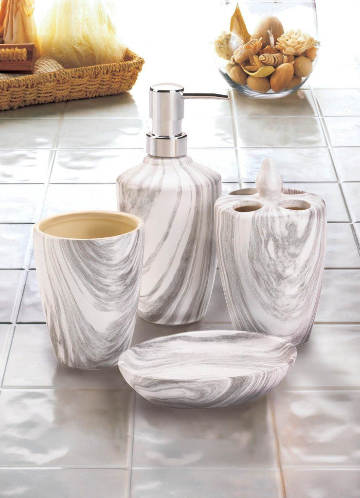 Marble Printed Bath Accessory Set
