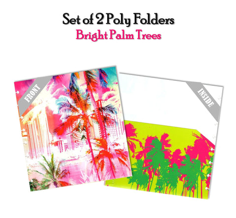 Set of 2 Poly Folders ~ Bright Palm Trees