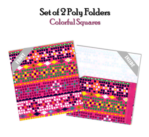 Set of 2 Poly Folders ~ Colorful Squares