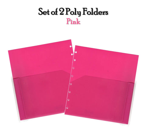 Set of 2 Poly Folders (Pink)
