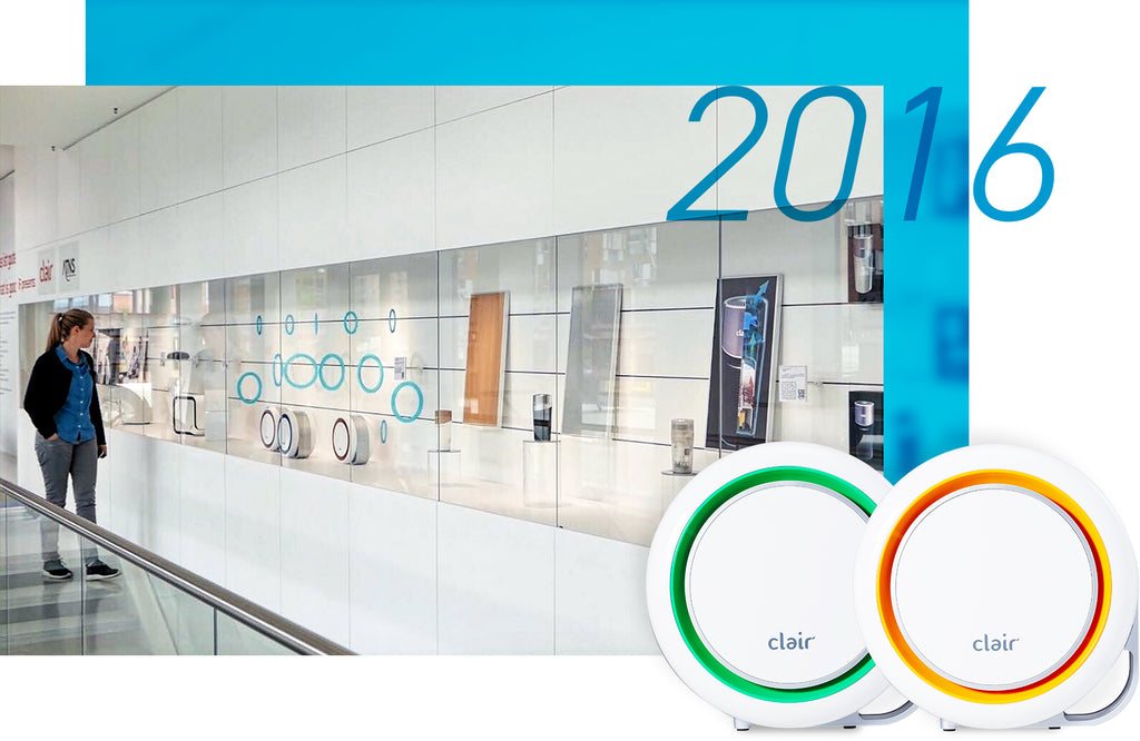 Clair's 2016 milestones, such as featuring their products at the iF Design exhibition
