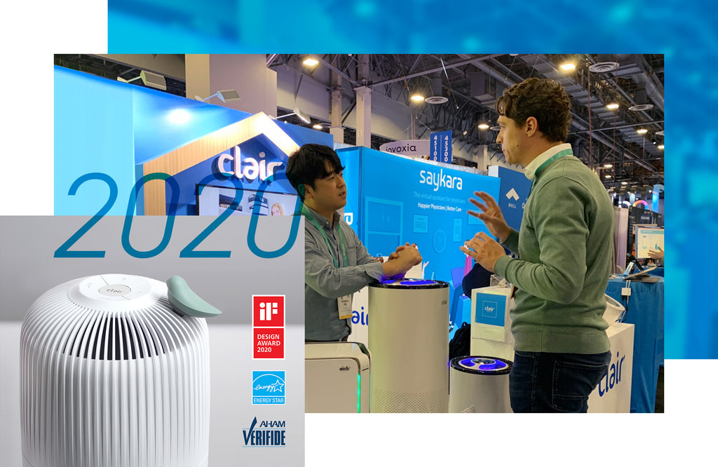Clair's 2020 accomplishments, such as being awarded the iF design award for air purifier, and attending CES 2020 in Las Vegas