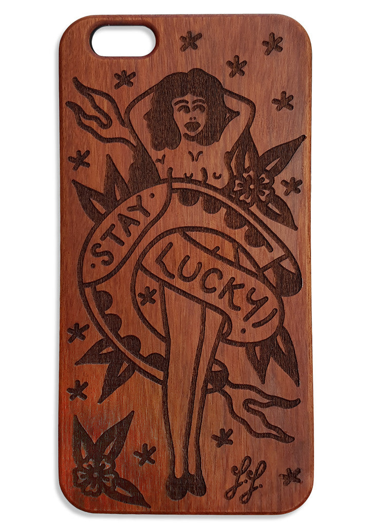'Stay Lucky' Wooden Phone Case by Steen Jones