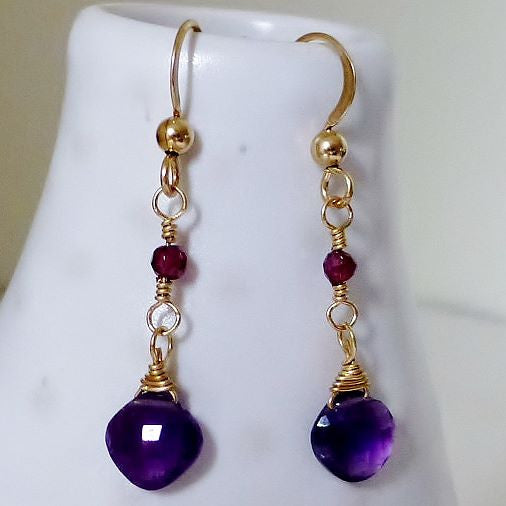 Checkerboard cut purple Amethyst  & Fuchsia Garnet Gold Drop Earrings
