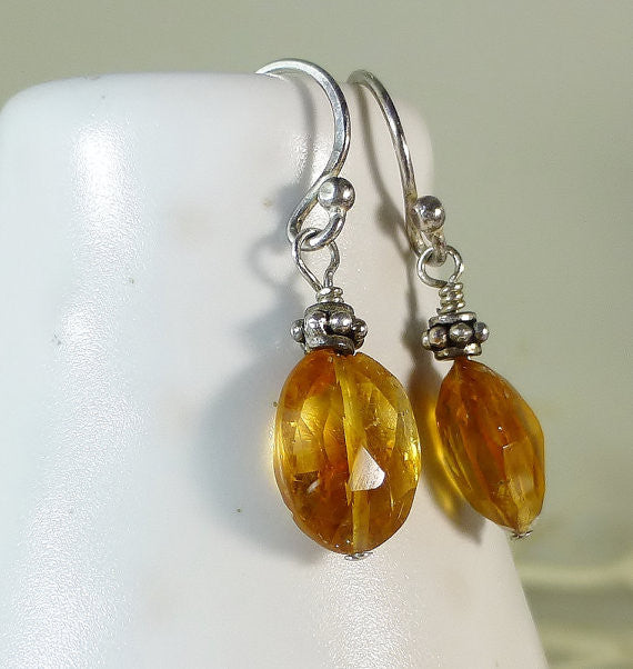 Golden Faceted Citrine Drop Silver Earrings
