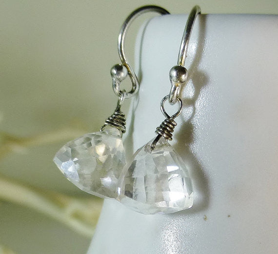 Faceted Mystic Silver Topaz Fancy Cut Pyramid Briolette Sterling Silver Dangle Earrings