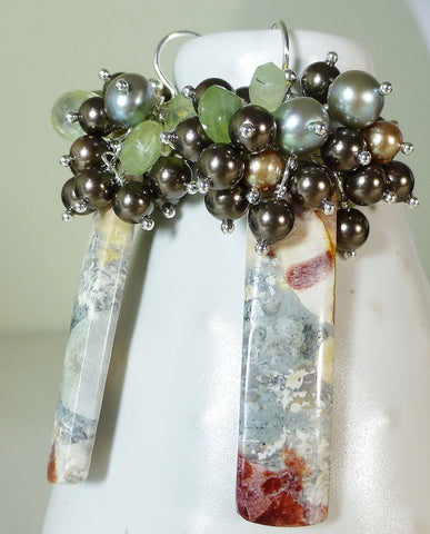 Galaxy Jasper, Green and Brown Gemstone Cluster Earrings